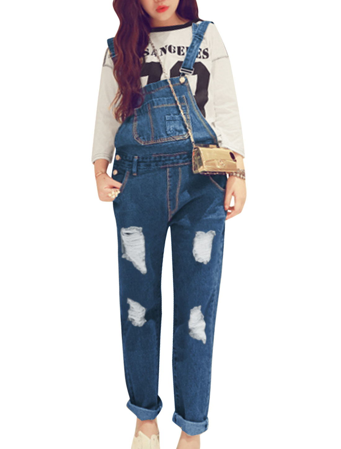Lady Side Buttons Closure Destroyed Design Stylish Denim Overalls Blue S