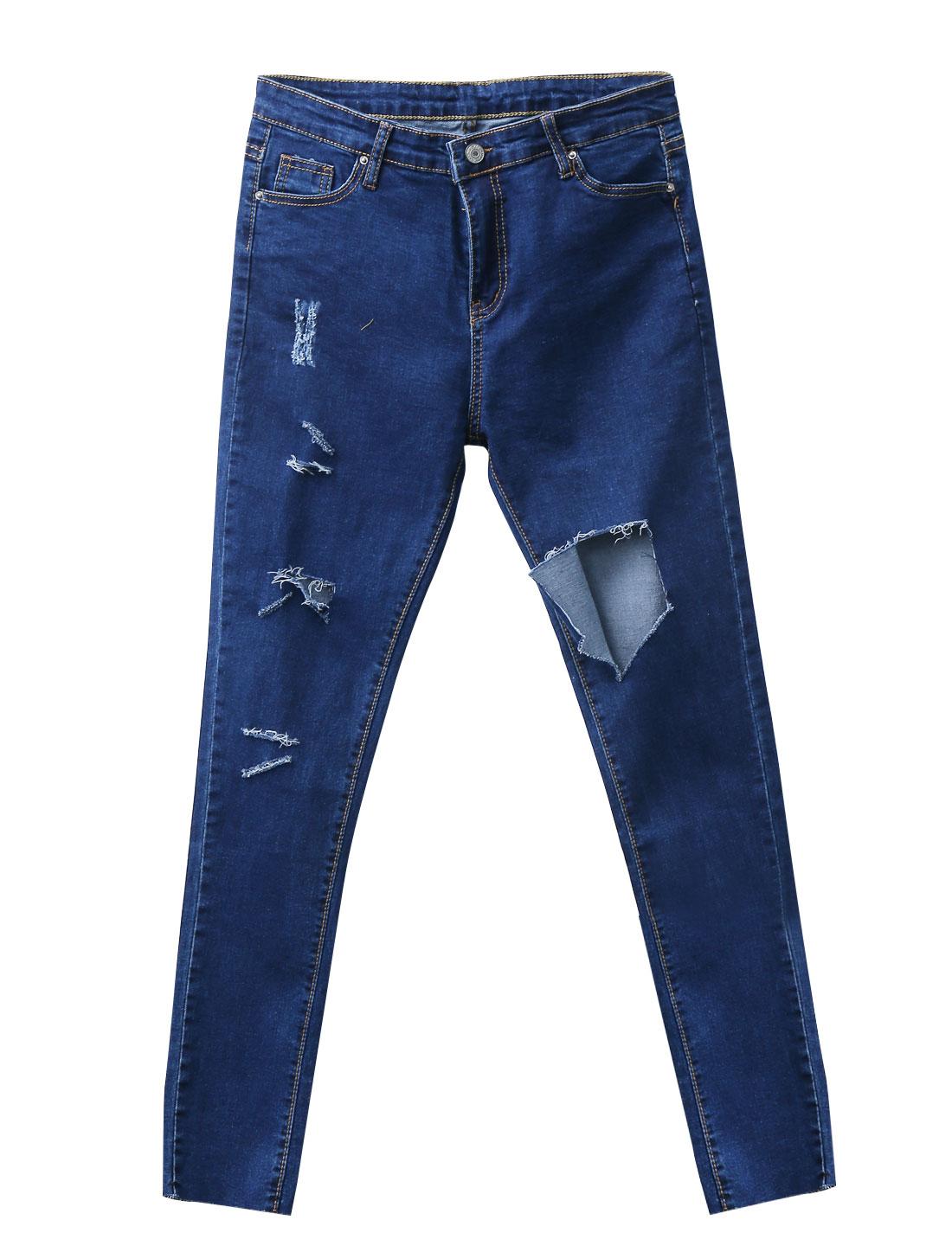 Women Belt Loop Button Closure Zip Fly Destroyed Slim Denim Pants Blue M
