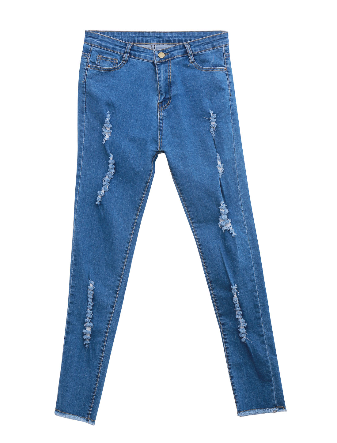 Lady Destroyed Design Tassel Cuffs Patch Pockets Back Fashion Jeans Blue M