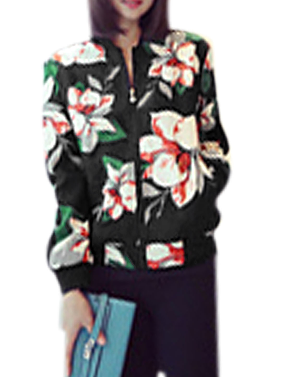 Lady Floral Pattern Double Slant Pockets Front Casual Jacket Black XS