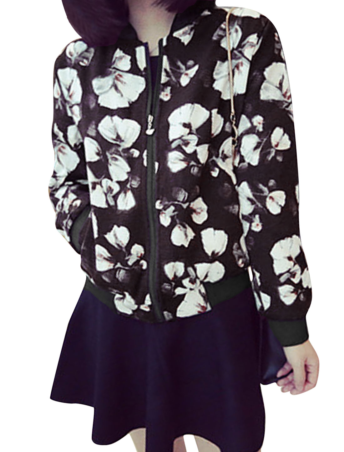 Lady Stand Collar Zip Up Floral Pattern Casual Jacket Coffee XS