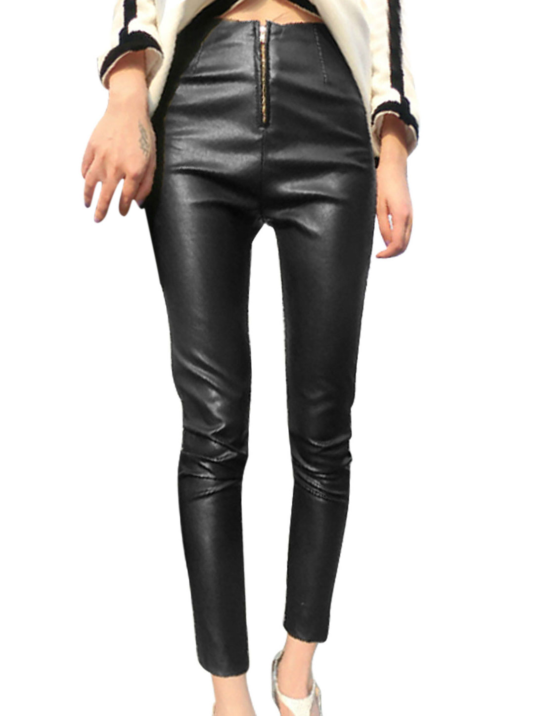 Women Zip Fly Double Hip Pockets Imitation Leather Cropped Pants Black XS
