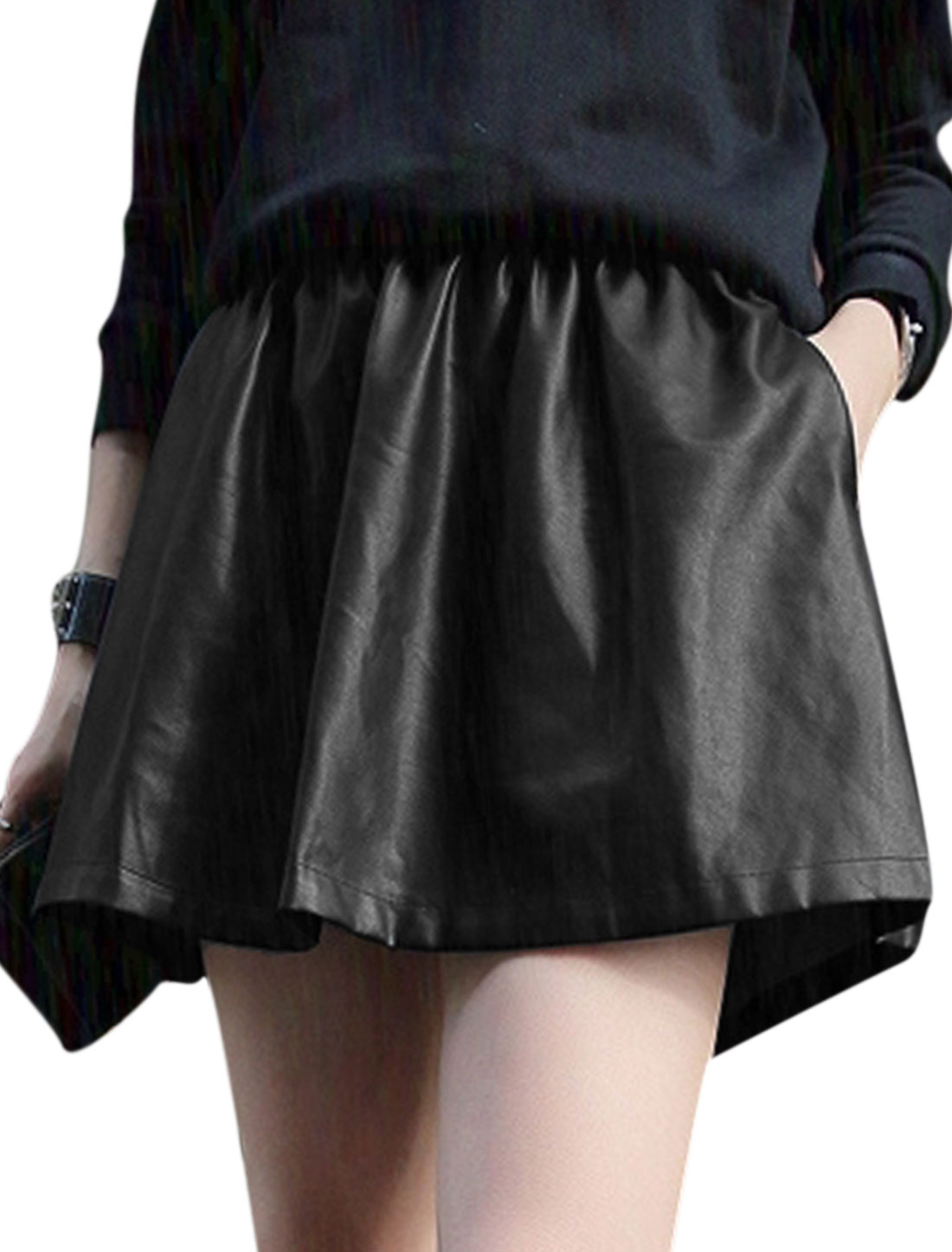 Women Elastic Waist Double Welt Pockets Imitation Leather Skirt Black XS