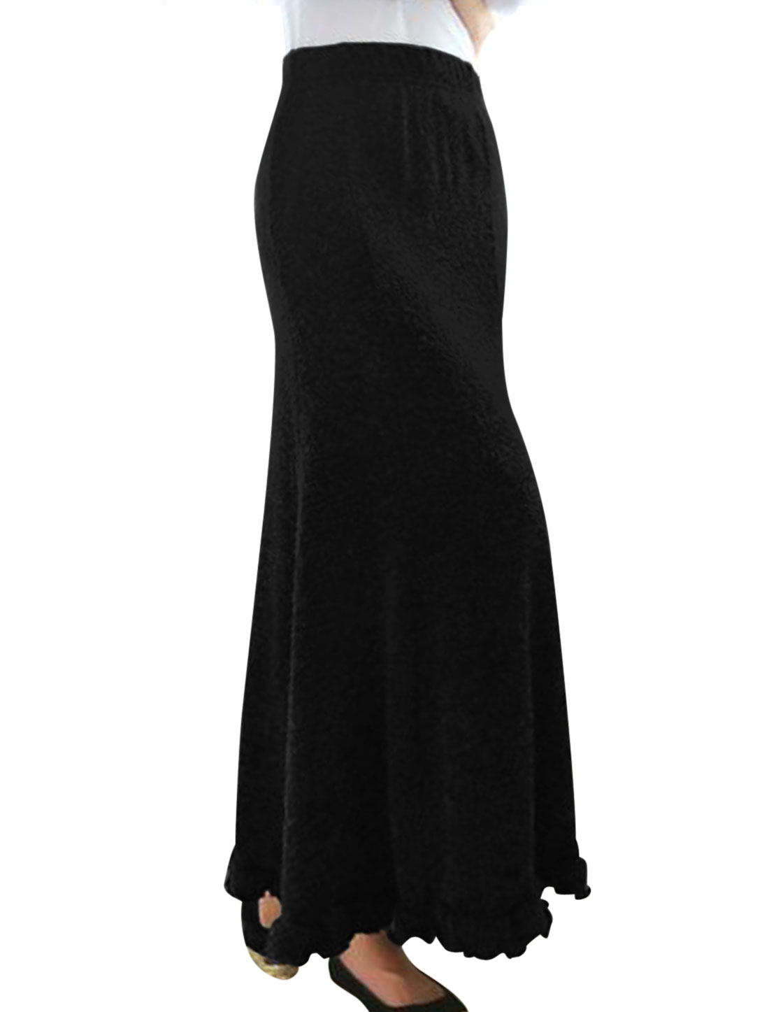 Ladies Black Elastic Waist Ruffled Hem Casual Maxi Skirt M