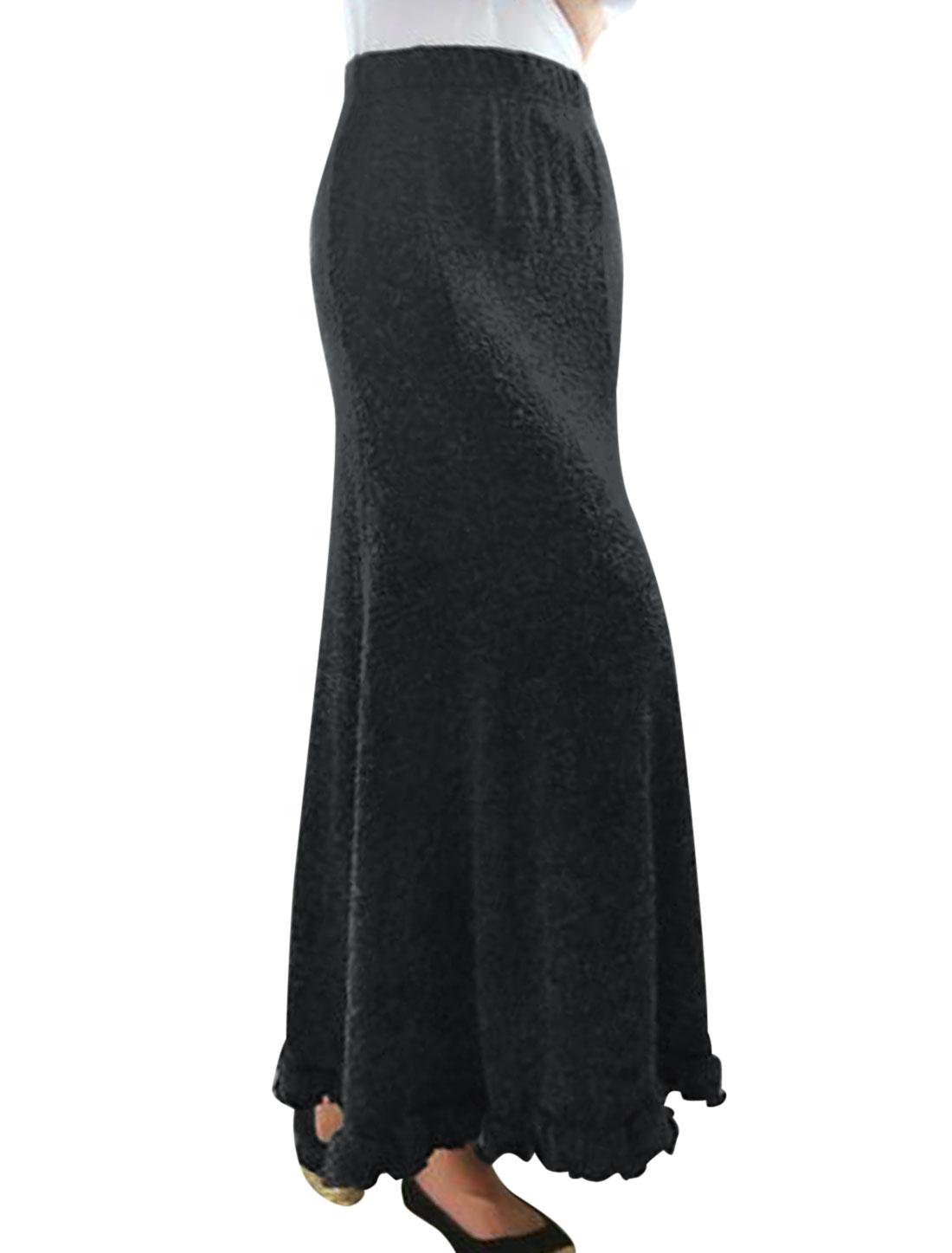 Ladies Cool Gray Elastic Waist Flounced Hem Knitted Maxi Skirt M