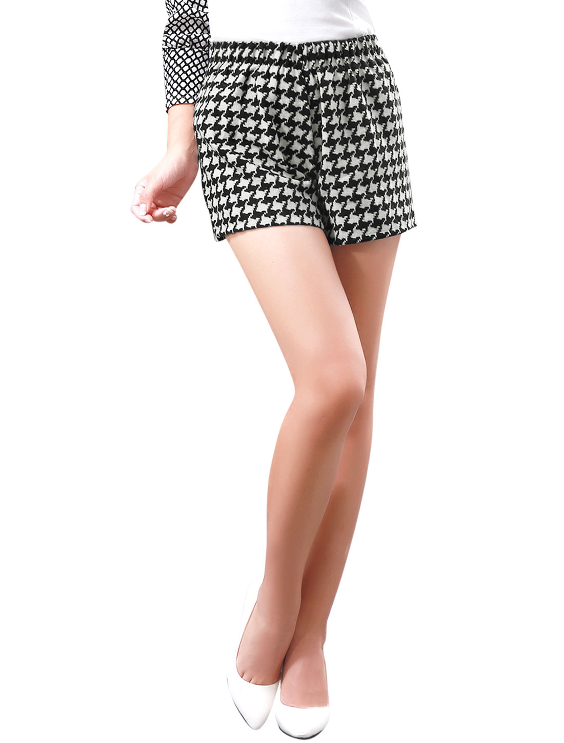 Lady Houndstooth Pattern High Elastic Waisted Shorts Black White XS