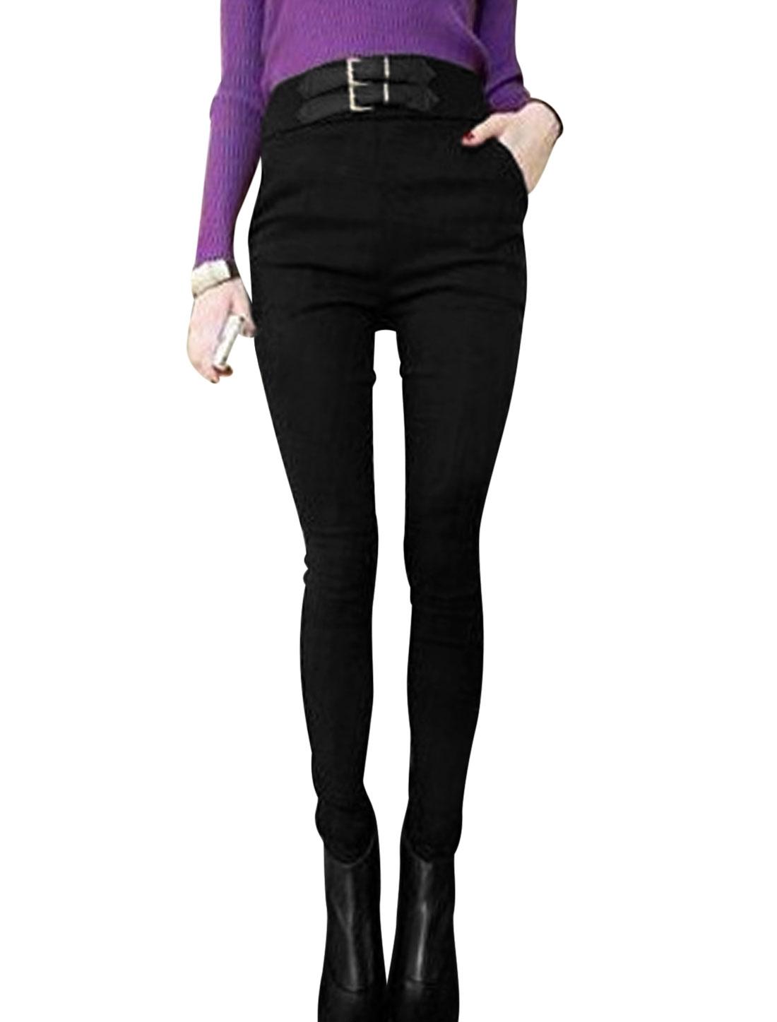 Lady Elastic Waist Buckle-Belt Decor Slant Pockets Pencil Pants Black XS