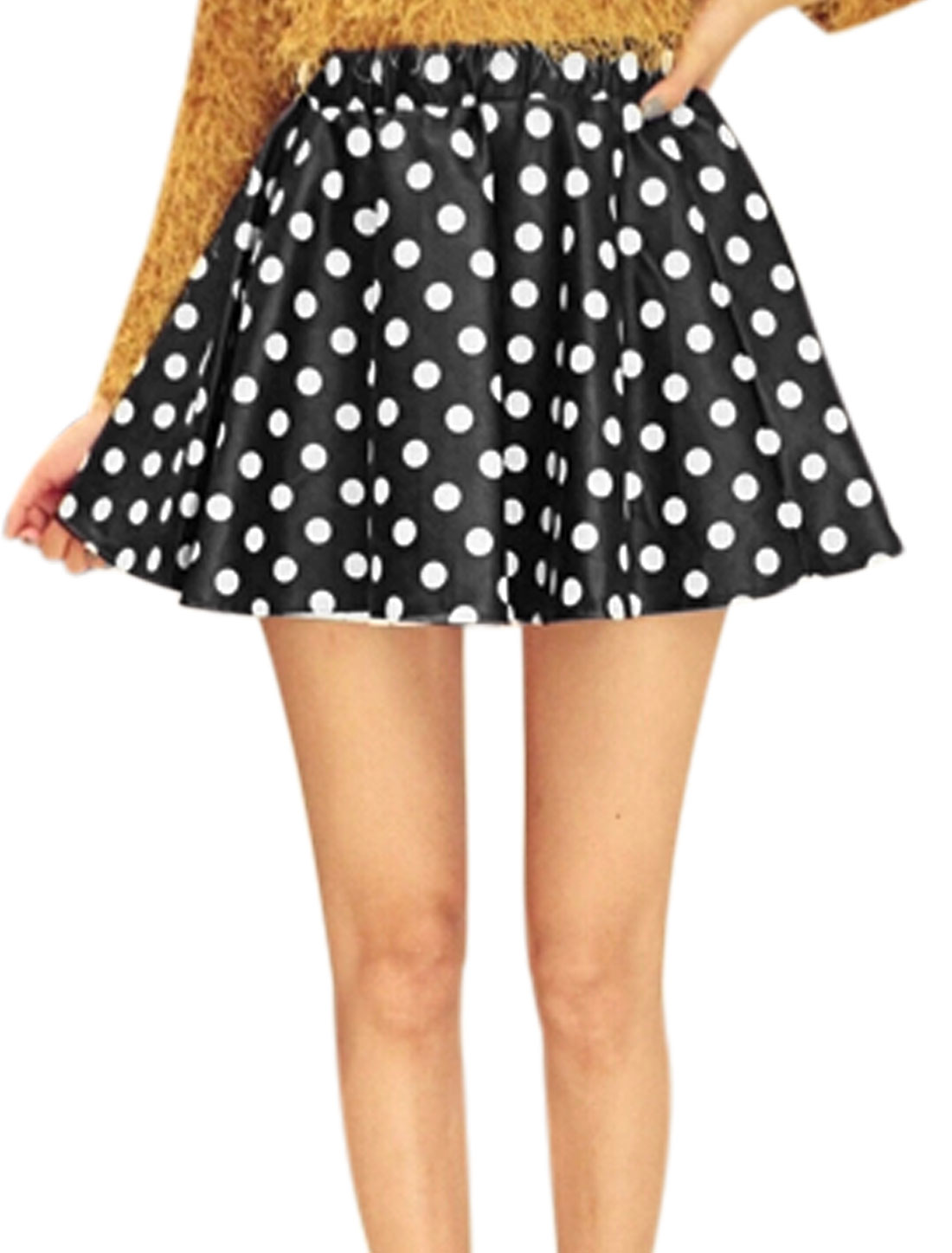 Lady Dots Prints Elastic Waist Imitation Leather Skirt Black White M