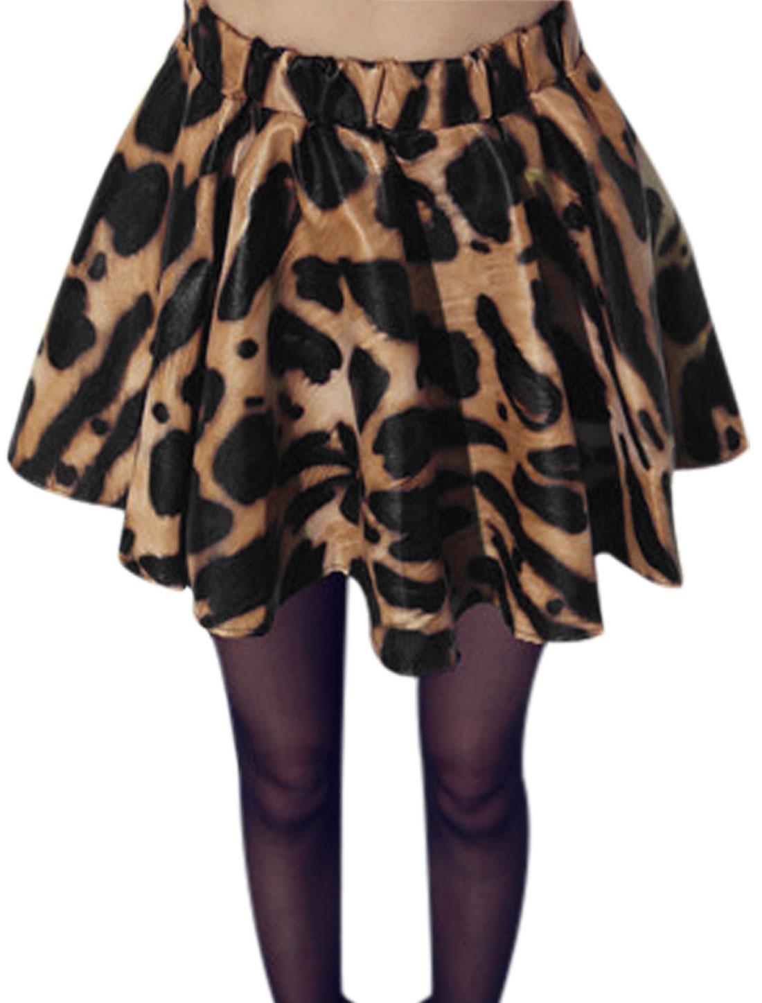 Women Leopard Prints Elastic Waist Imitation Leather Skirt Black Camel M