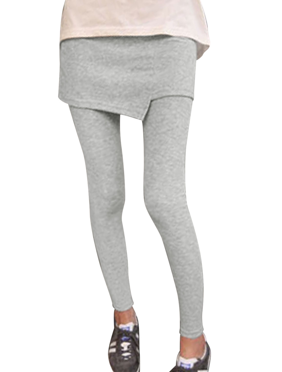 Slim Fit Stylish Layered Design Skirt Leggings for Lady Light Gray XS
