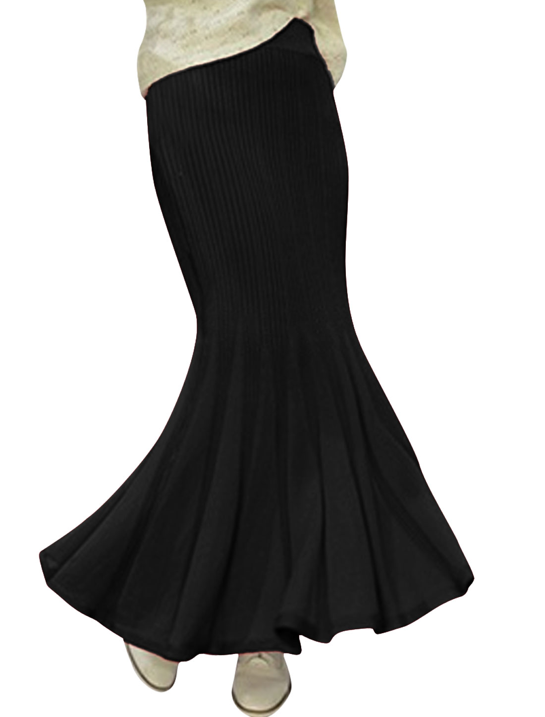Lady Elastic Waist Ruffled Hem Leisure Maxi Skirt Black XS