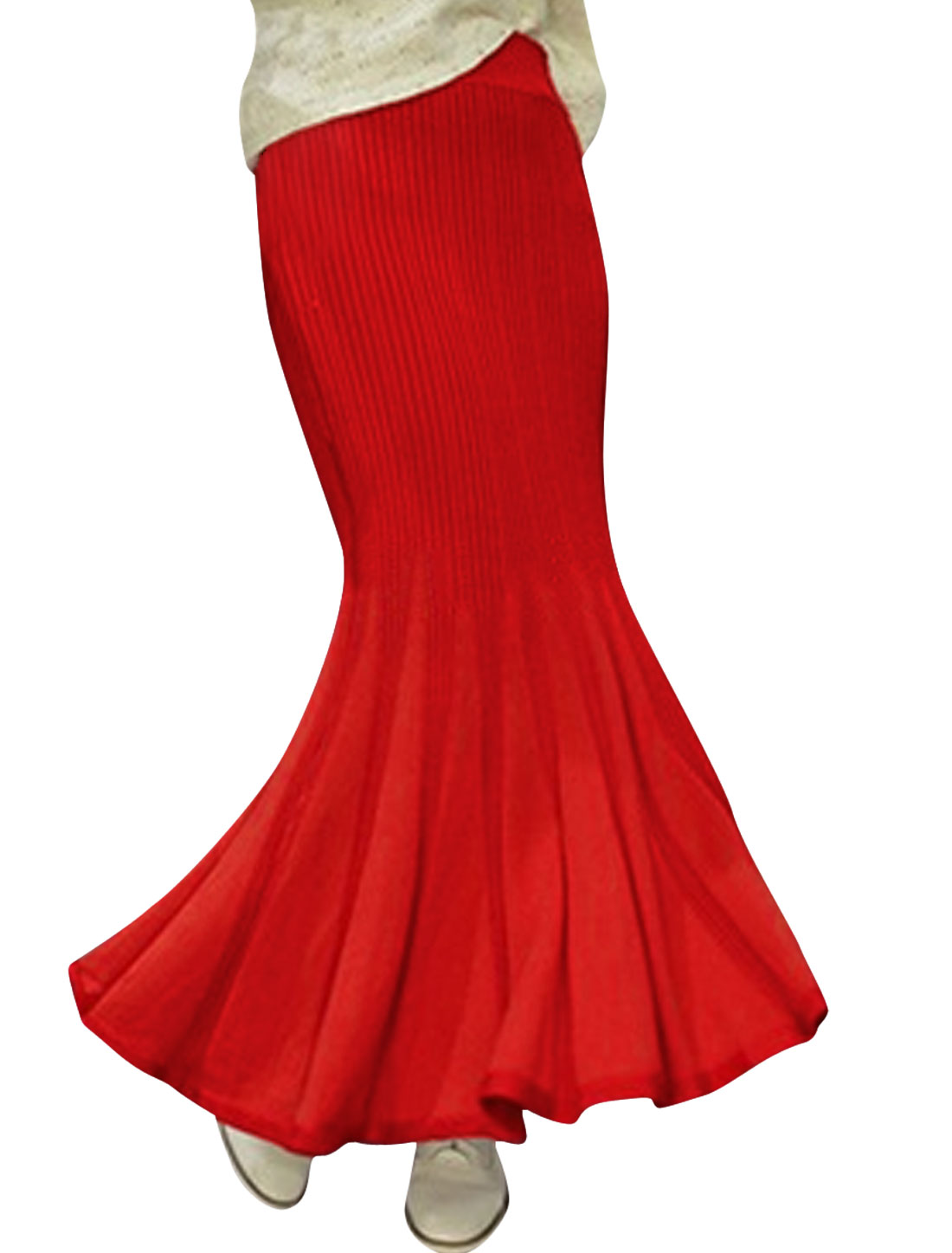 Lady High Waisted Ruffled Hem Leisure Maxi Skirt Red XS