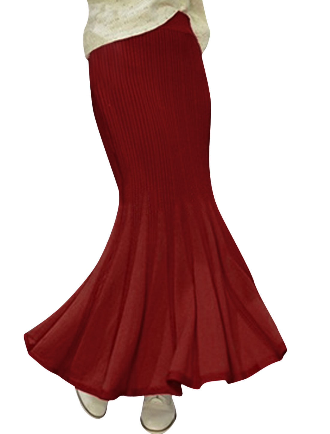 Lady Knitted Elastic Waist Fashion Design Maxi Skirt Burgundy XS