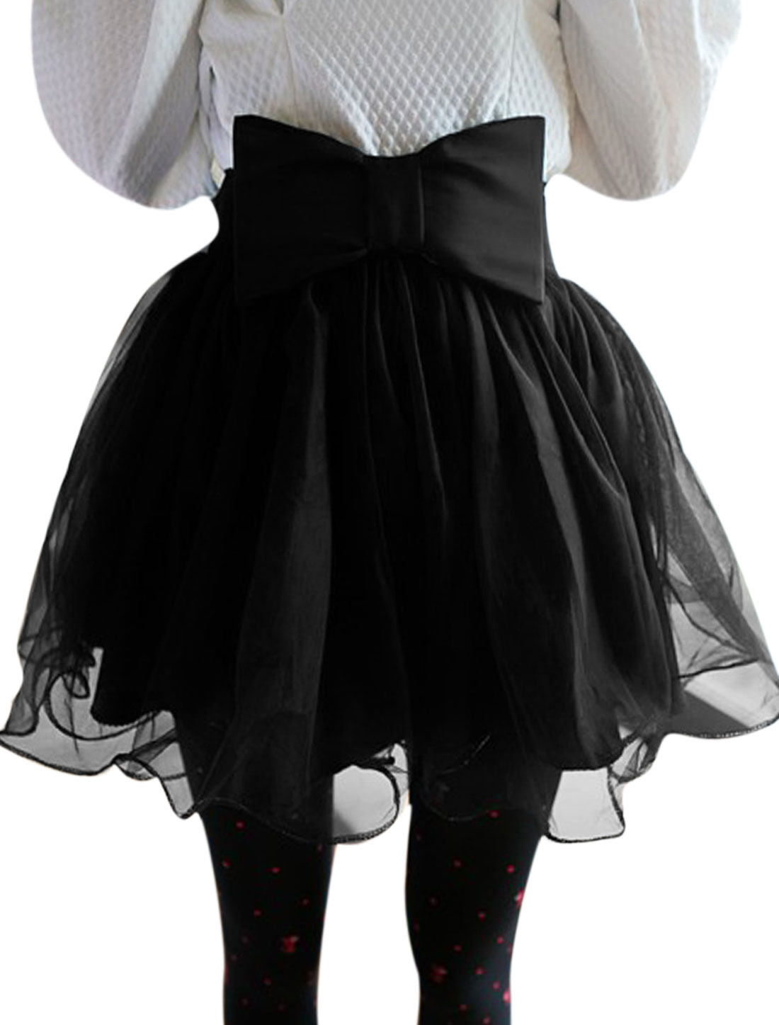 Lady Elastic Waist Lined Mini Full Skirt w Bowknot Decor Waist Strap Black XS