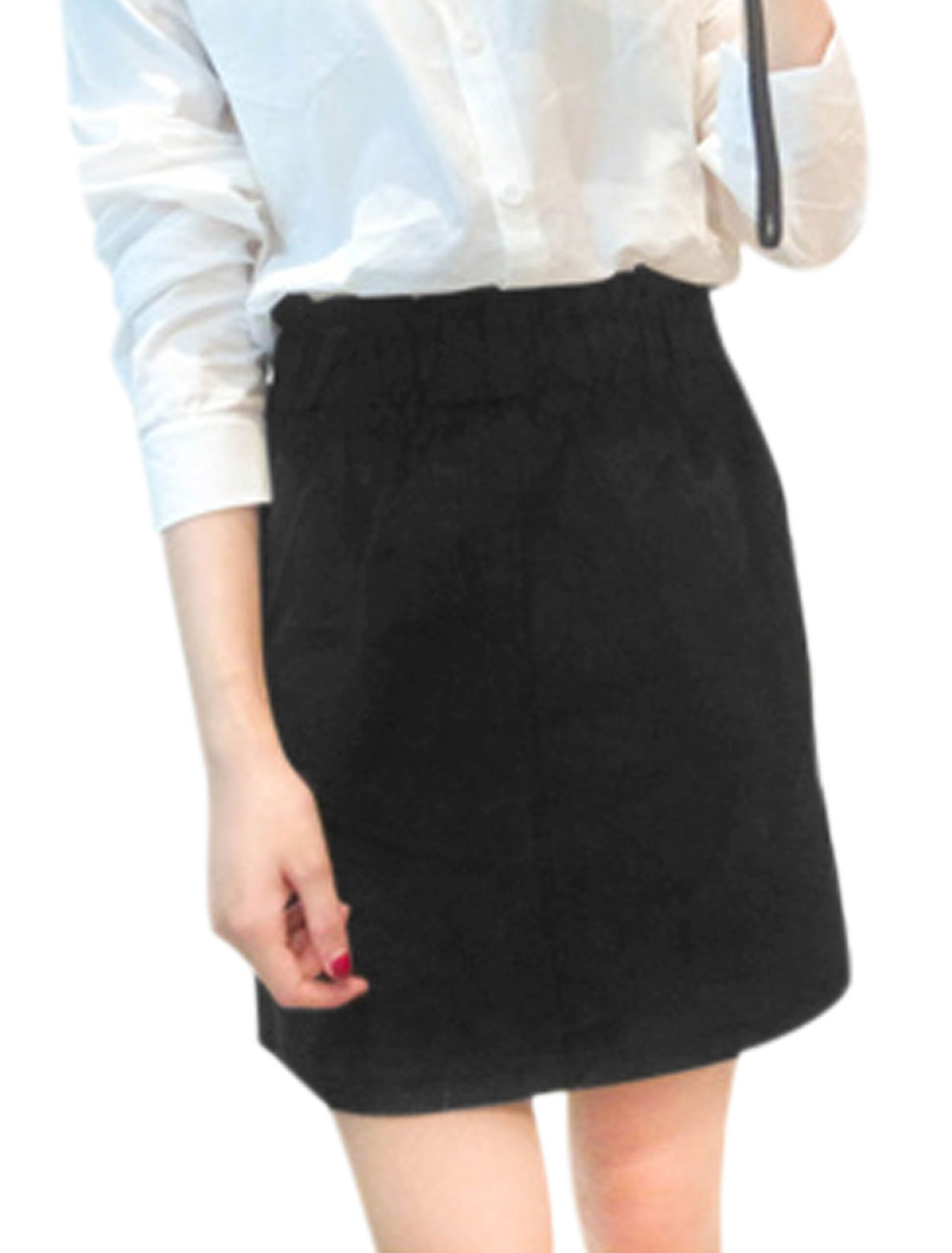 Women Belt Loop Elastic Waist Slant Pockets A-Line Skirt w Belt Black XS