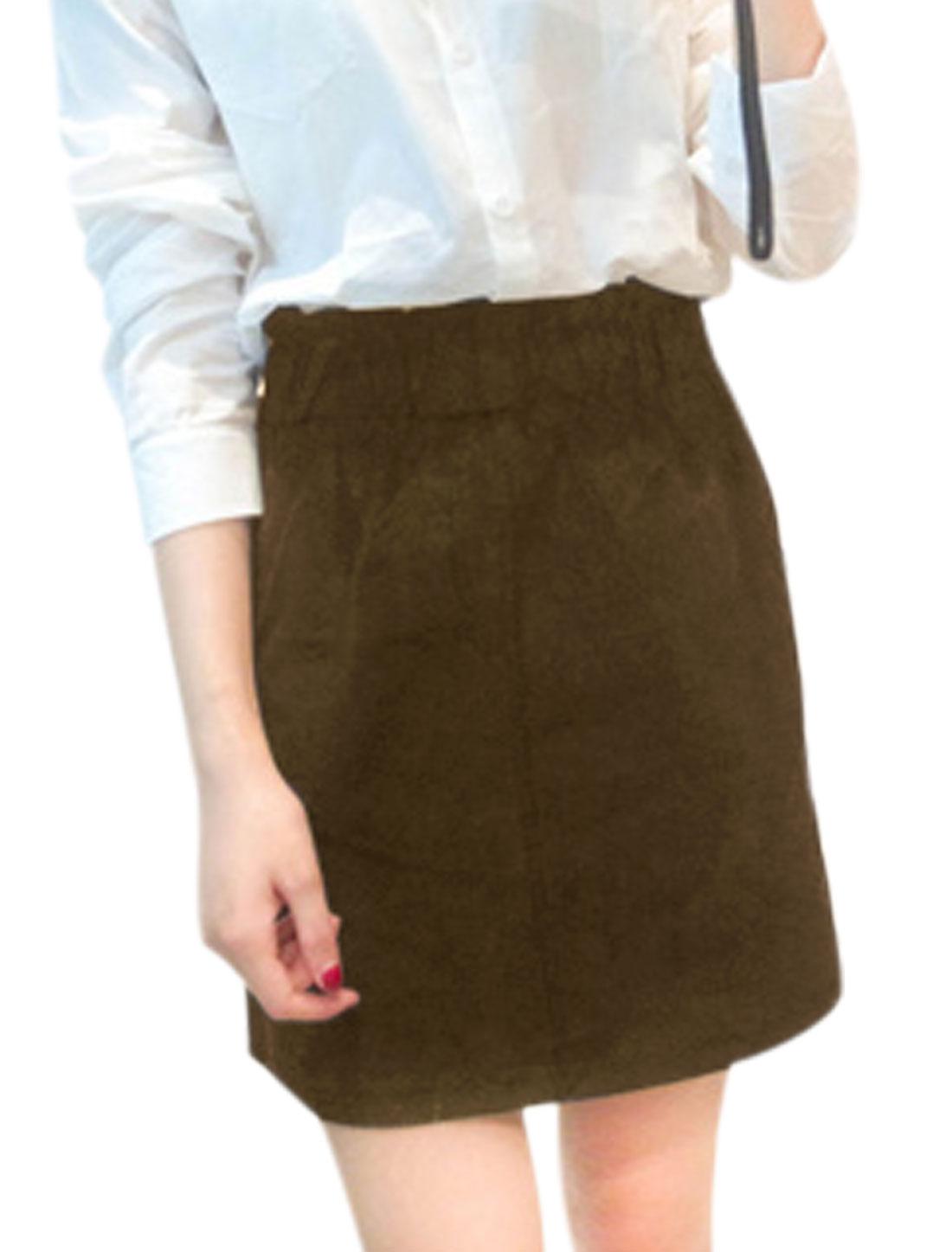 Women Fashion Style Belt Loop Elastic Waist A-Line Skirt Khaki XS