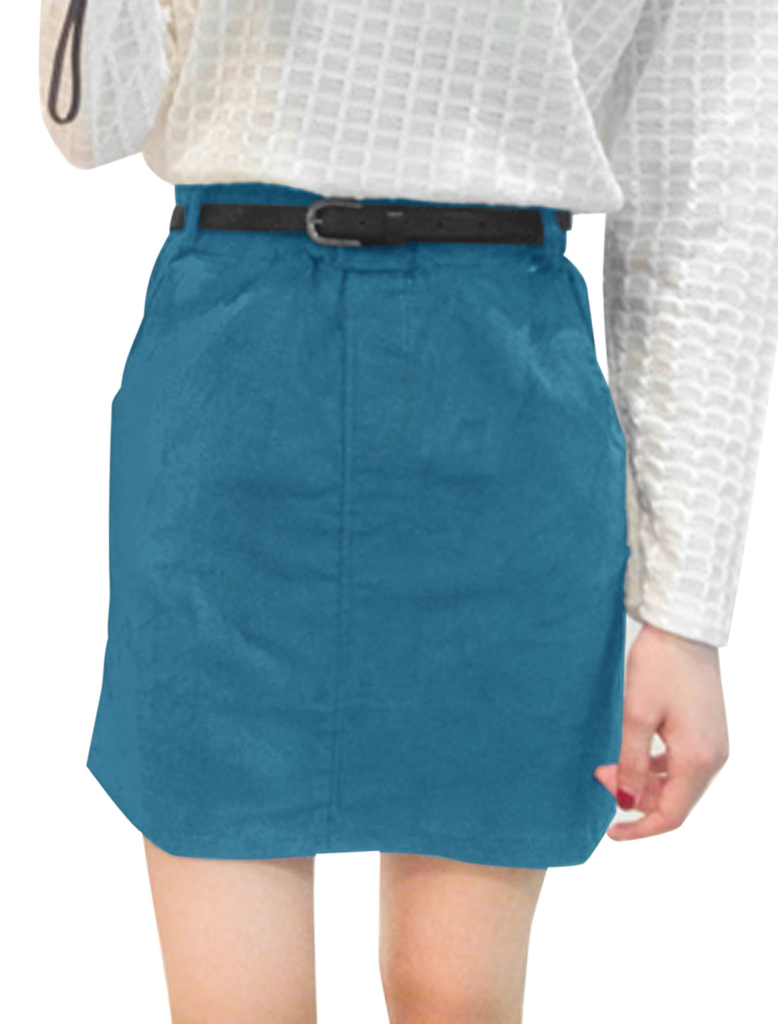 Lady Stretchy Waist Belt Loop Casual A-Line Skirt Turquoise XS
