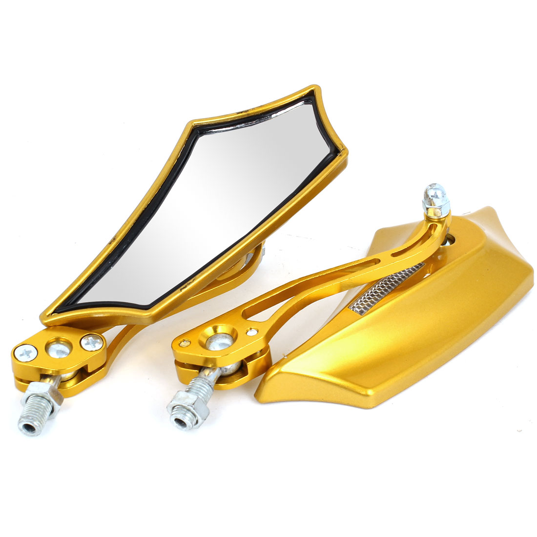 2 Pcs Gold Tone Metal Shell Shape Motorcycle Rearview Mirror