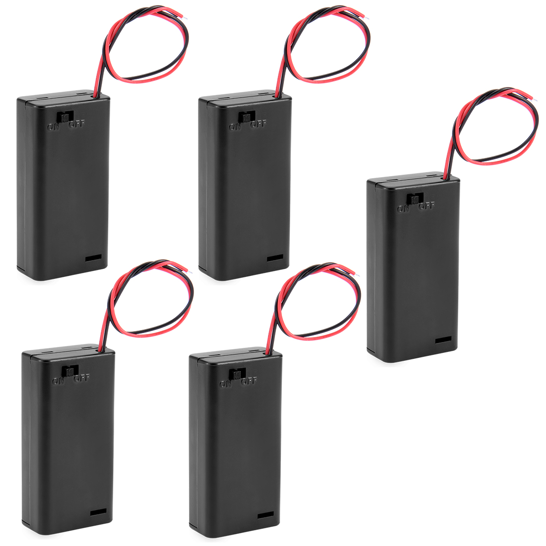 5 Pcs 2 Wire Leads Spring Clip Battery Box Holder w Cap On/Off Switch for 2x1.5V AA Batteries