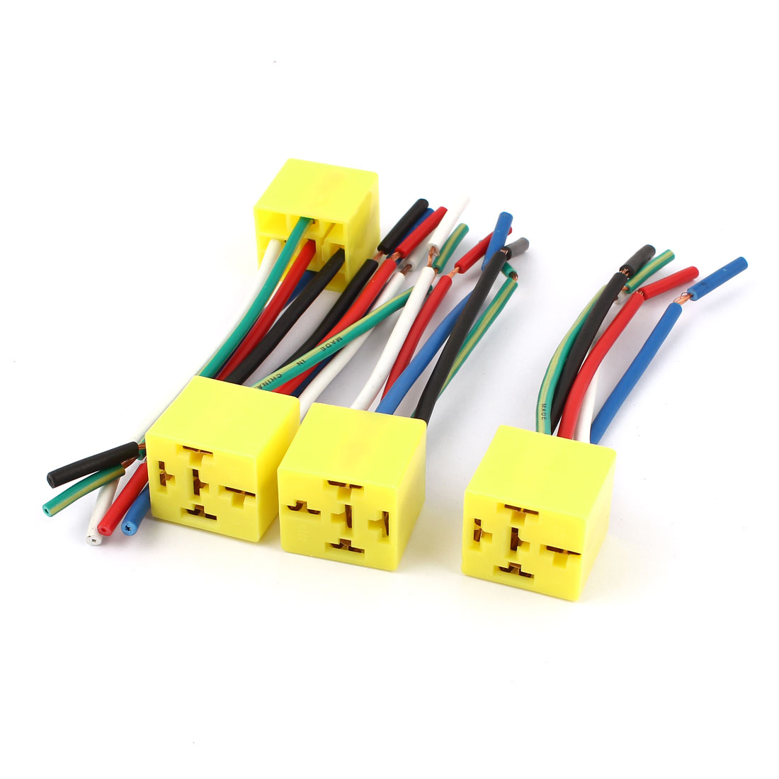 Car Auto DC 12V Yellow 5 Pin Wires Relay Socket Harness Connector 4 Pcs