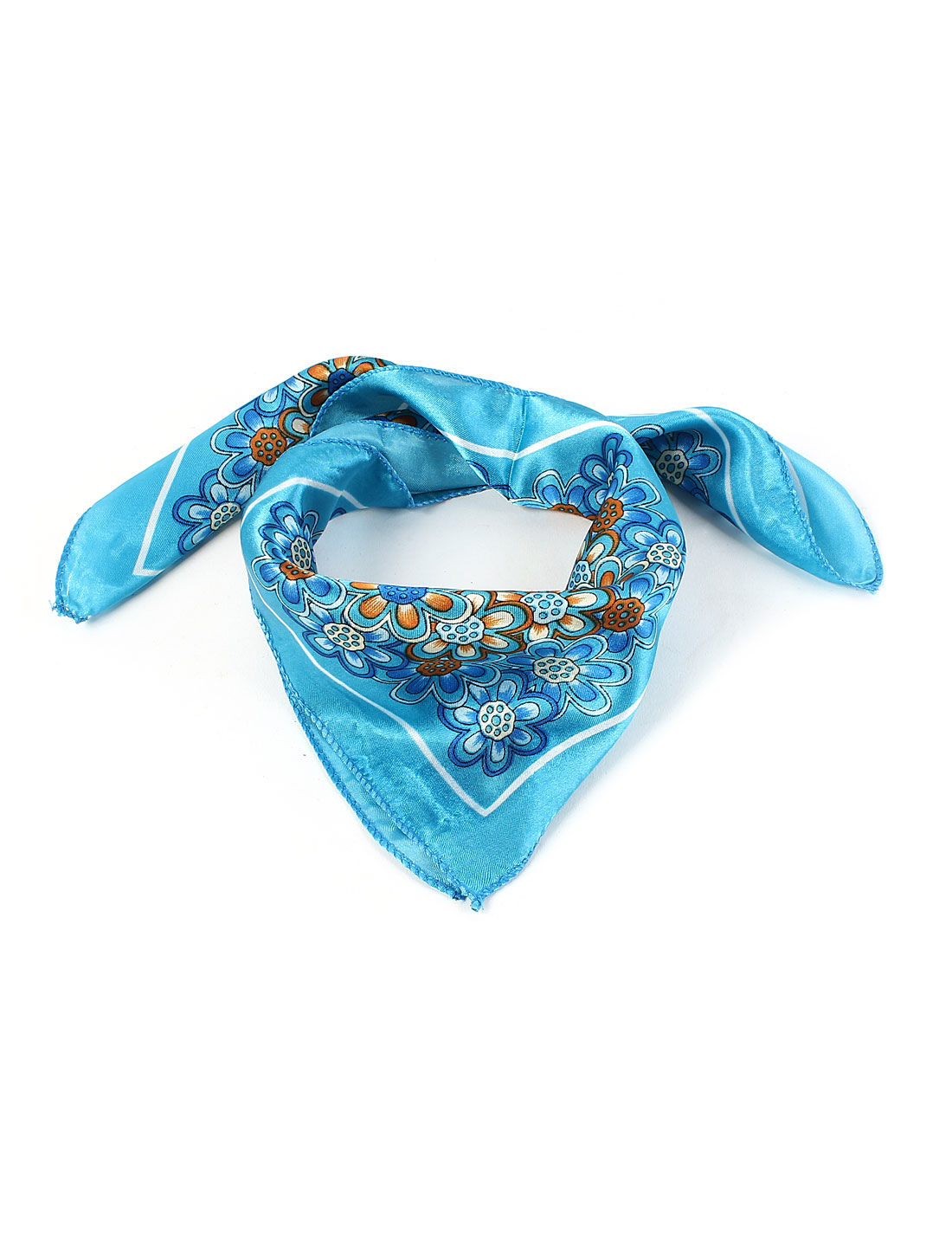 Lady Blue White Flower Print Kerchief Neck Scarf Neckerchief 50cm x 50cm