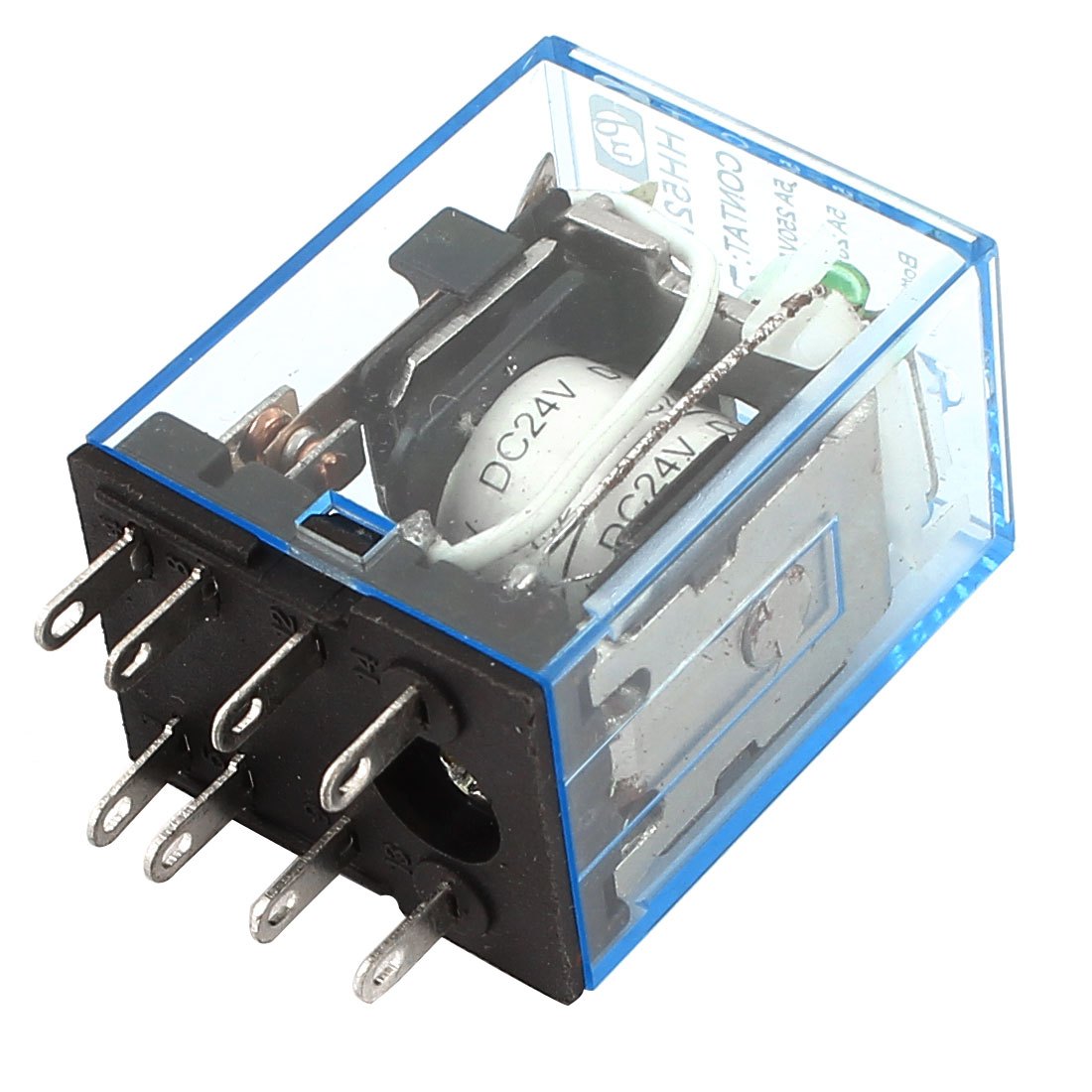 HH52P DC 28V 5A Coil 8 Pin DPDT Green LED Indicator Light Power Relay