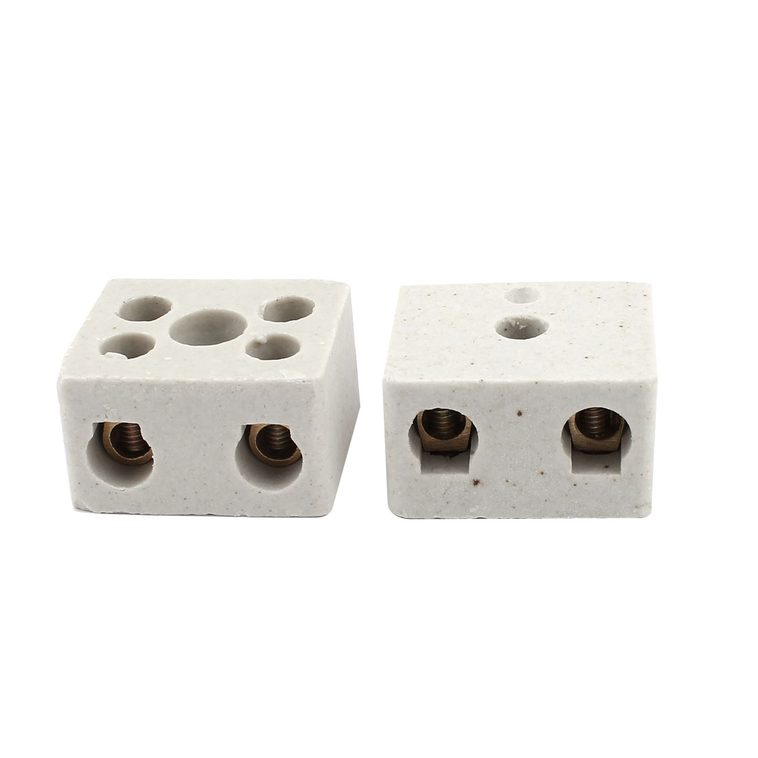 2 Pcs White Ceramic Cover Dual Rows Single Phase Barrier Terminal Block