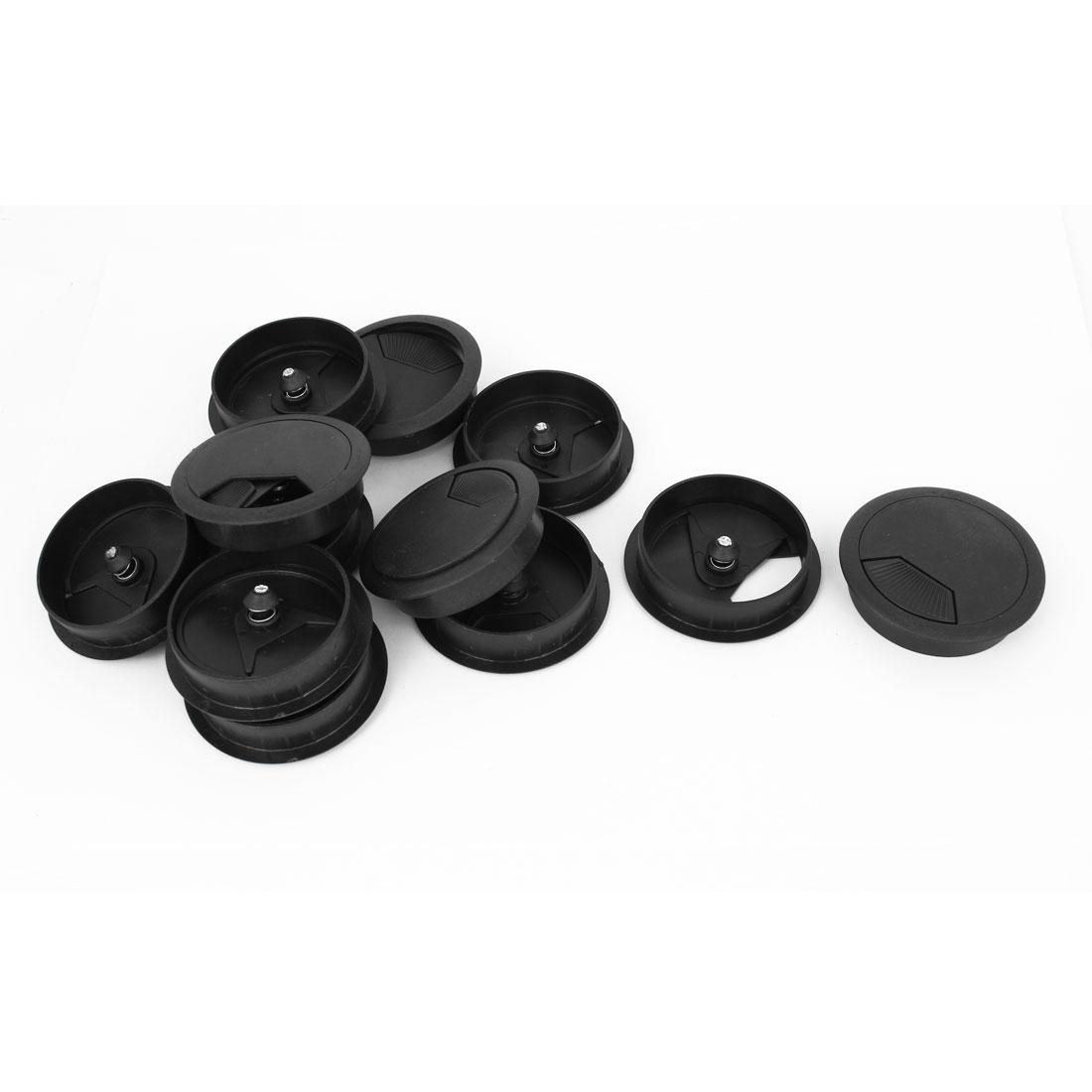 12pcs 60mm Dia Black Plastic PC Computer Desk Table Grommet Cable Tidy Hole Cover