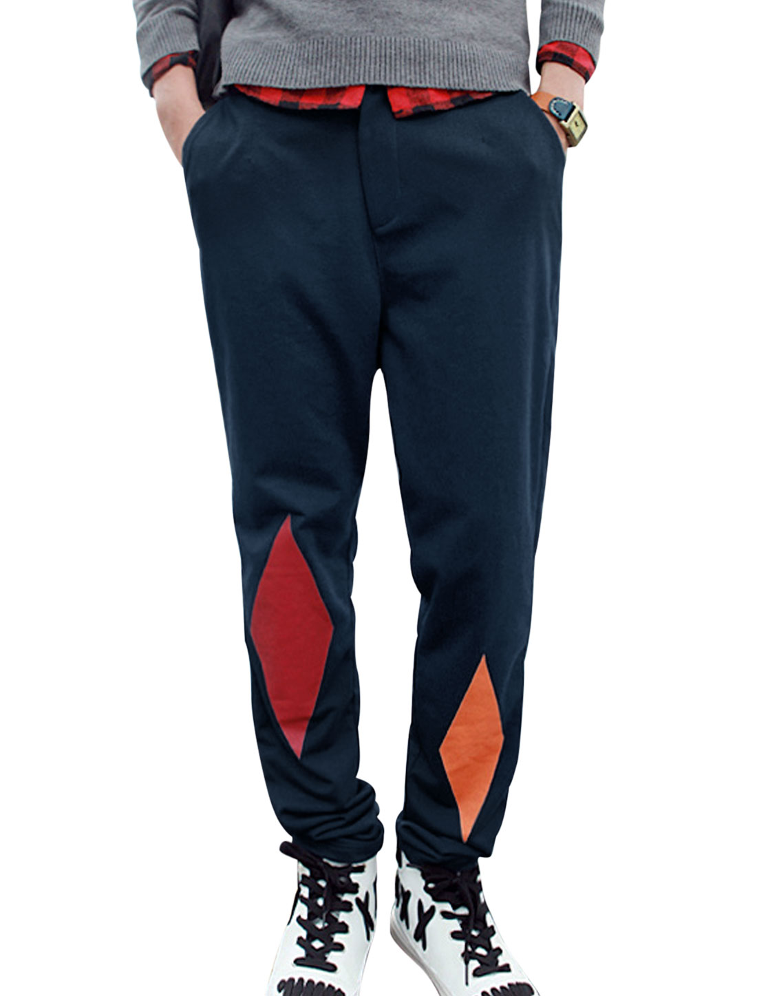 Men Contrast Color Slant Pockets Hip Pockets Sports Pants Navy Blue W34