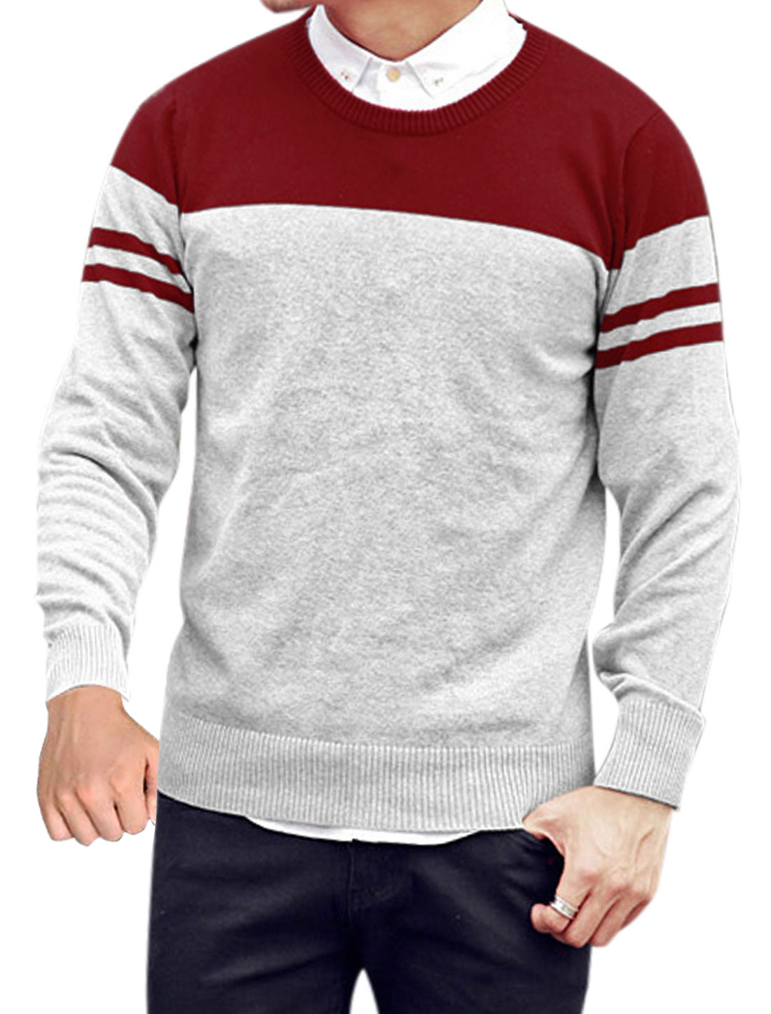 Men Color Block Round Neck Long Sleeve Casual Sweater Light Gray Red M
