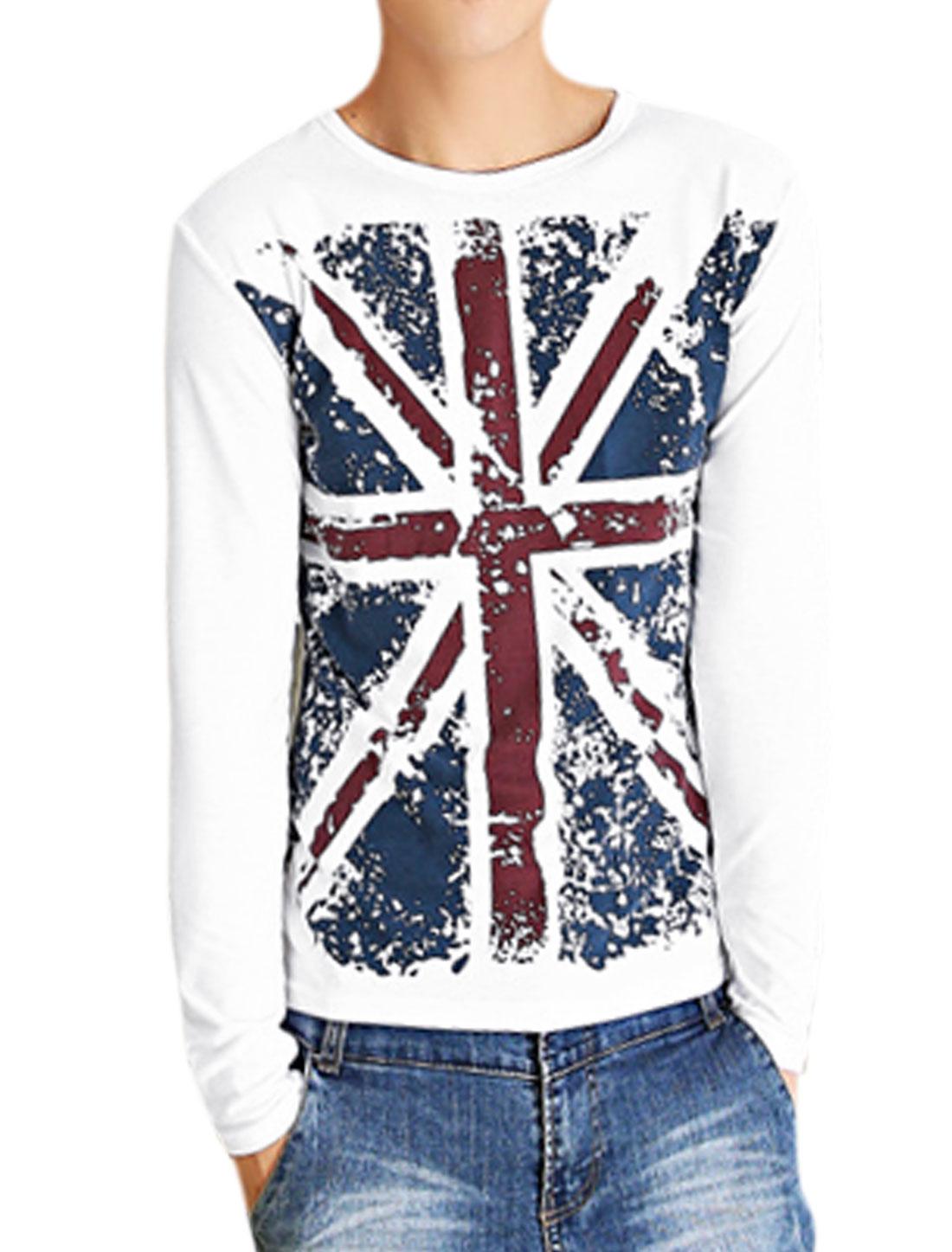 Men Crew Neck British Flag Pattern Casual T-shirt White M