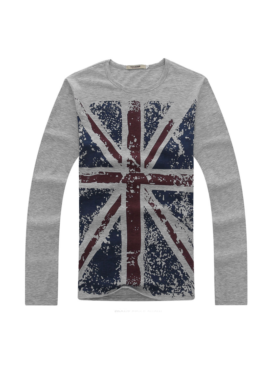 Slim Fit Pullover British Flag Pattern T-shirt for Men Light Gray M