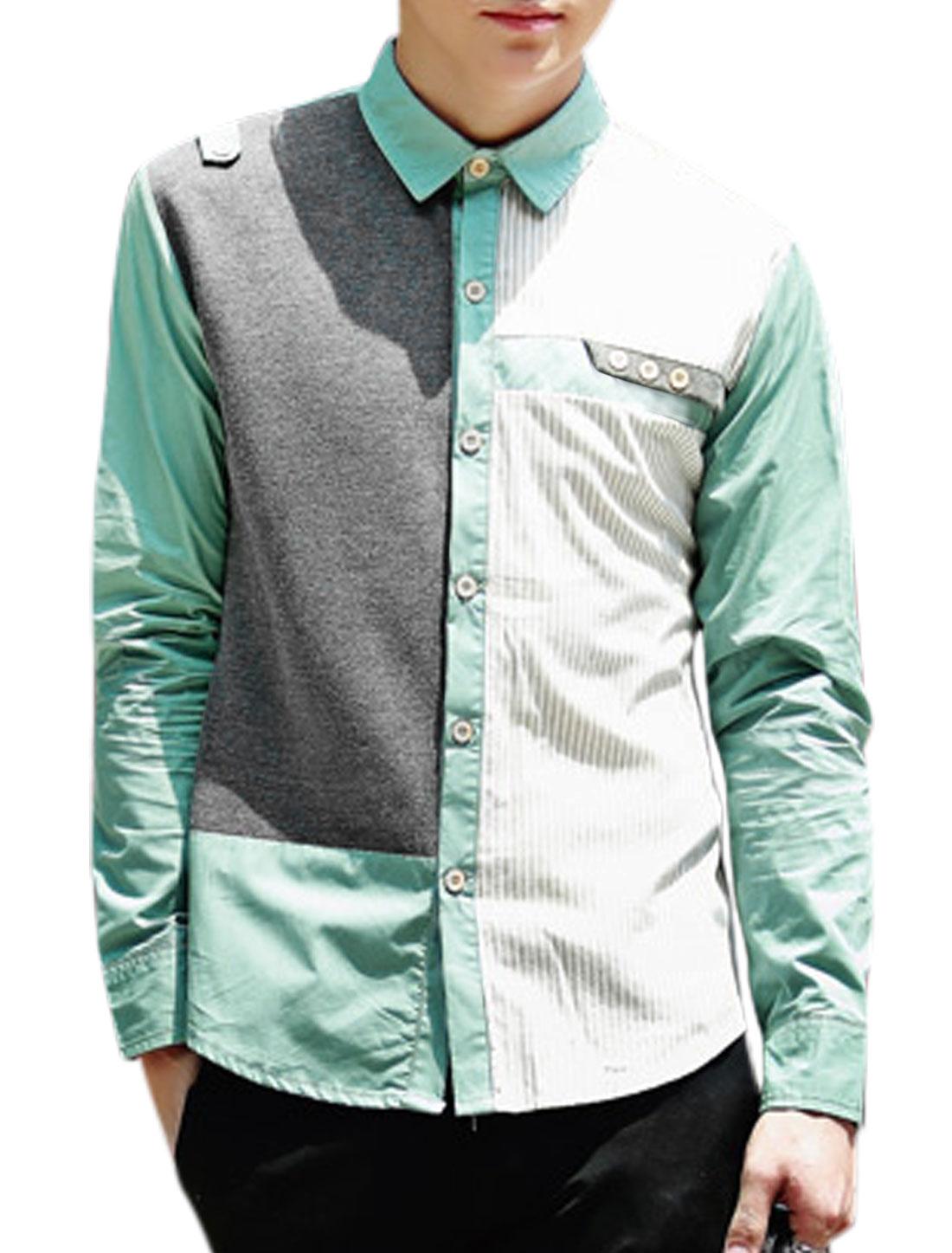 Men Point Collar Button Closure Front Panel Casual Shirt Light Green Gray M