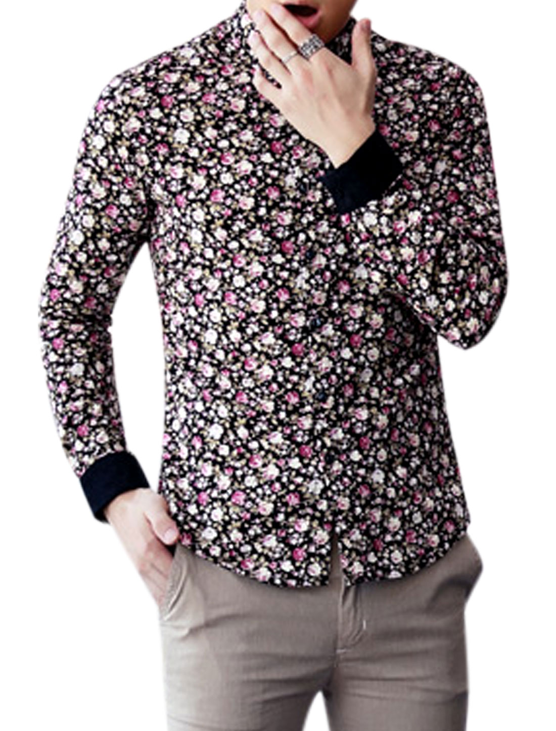 Men Point Collar Floral Pattern Slim Fit Casual Shirt Multicolor M