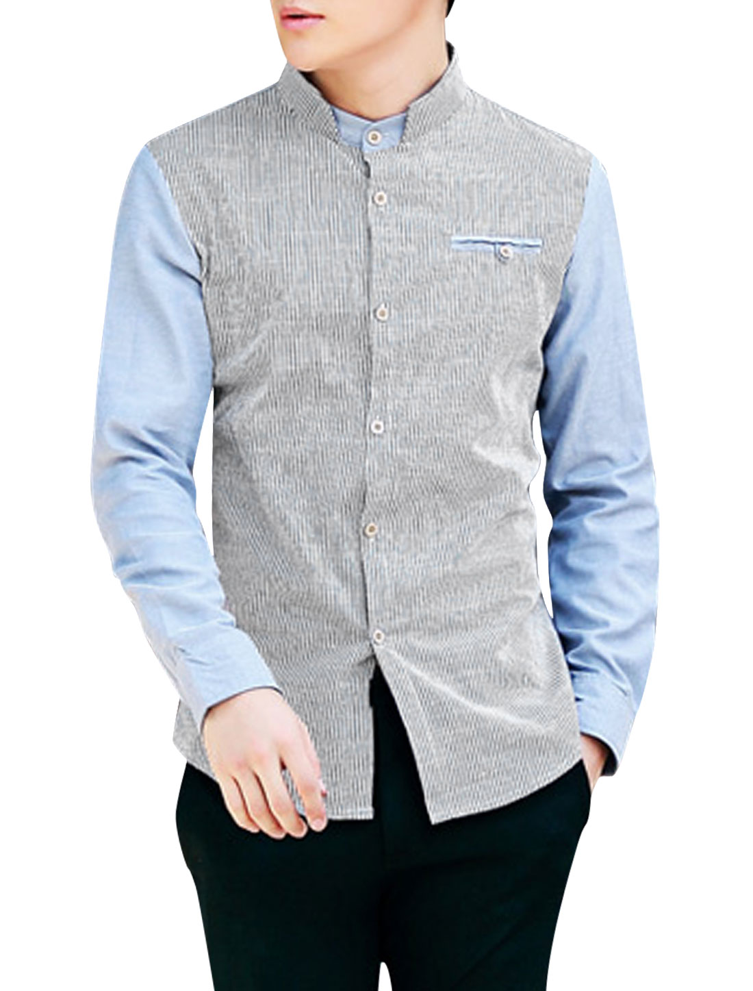 Men Stand Collar Stripes Pattern Color Block Casual Shirt Baby Blue Gray M