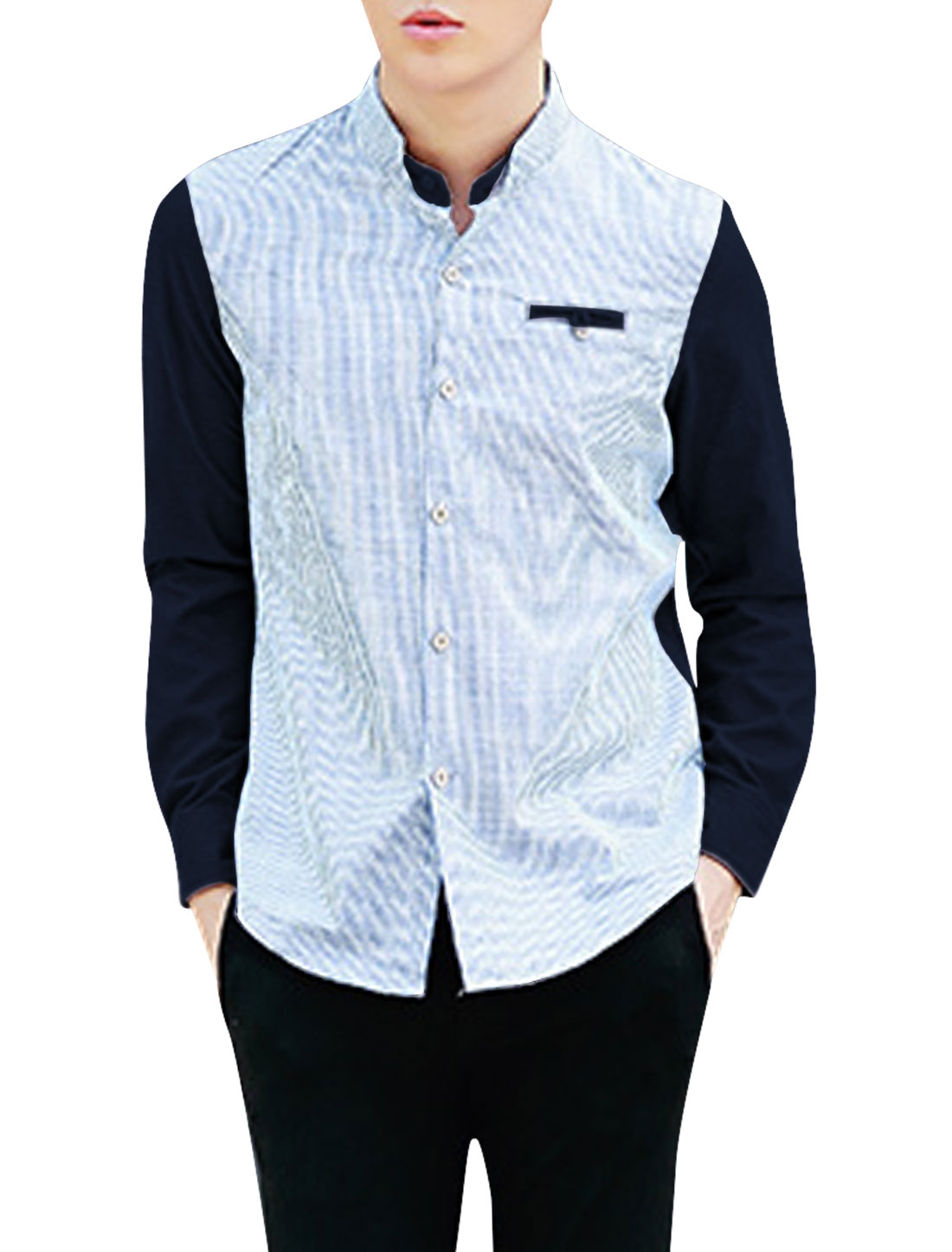 Men Stand Collar Single Breasted Cozy Fit Shirt Navy Blue Baby Blue