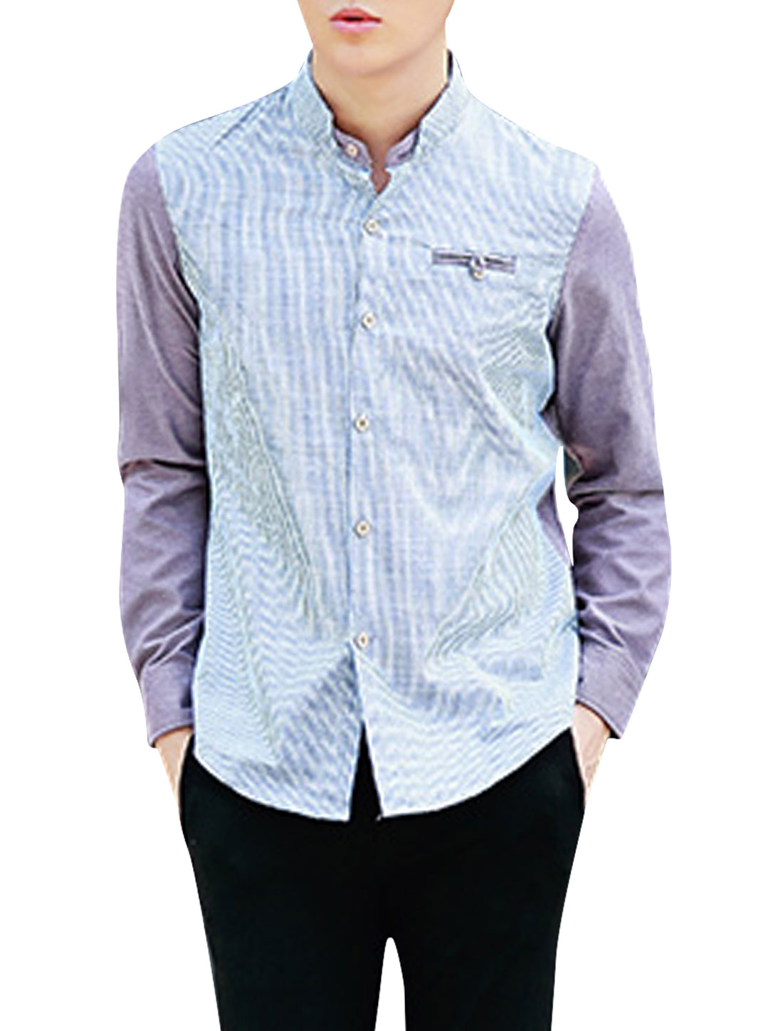 Men Button Cuffs One Fake Pocket Chest Casual Shirt Lavender Baby Blue M