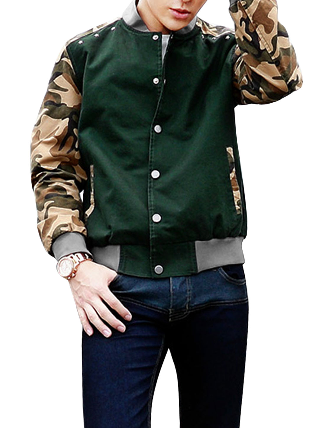 New Style Fashion Camouflage Detail Light Jacket for Men Dusty Green M
