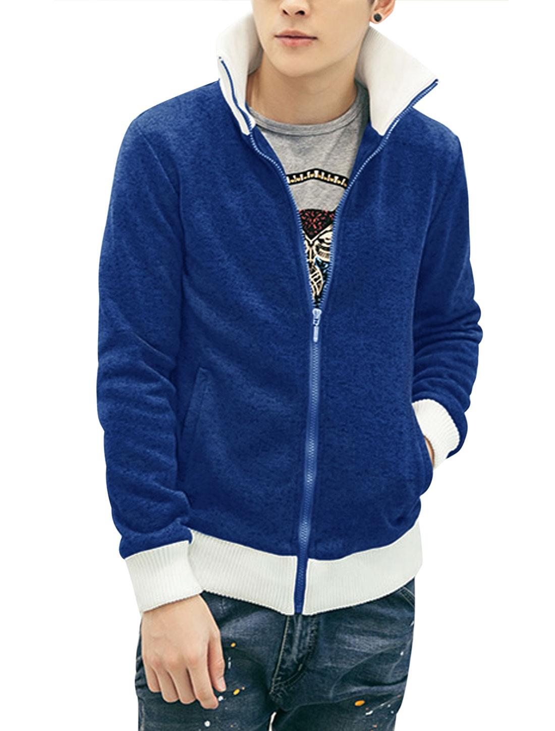 Men Zip Up Color Block Detail Leisure Light Jacket Royal Blue M