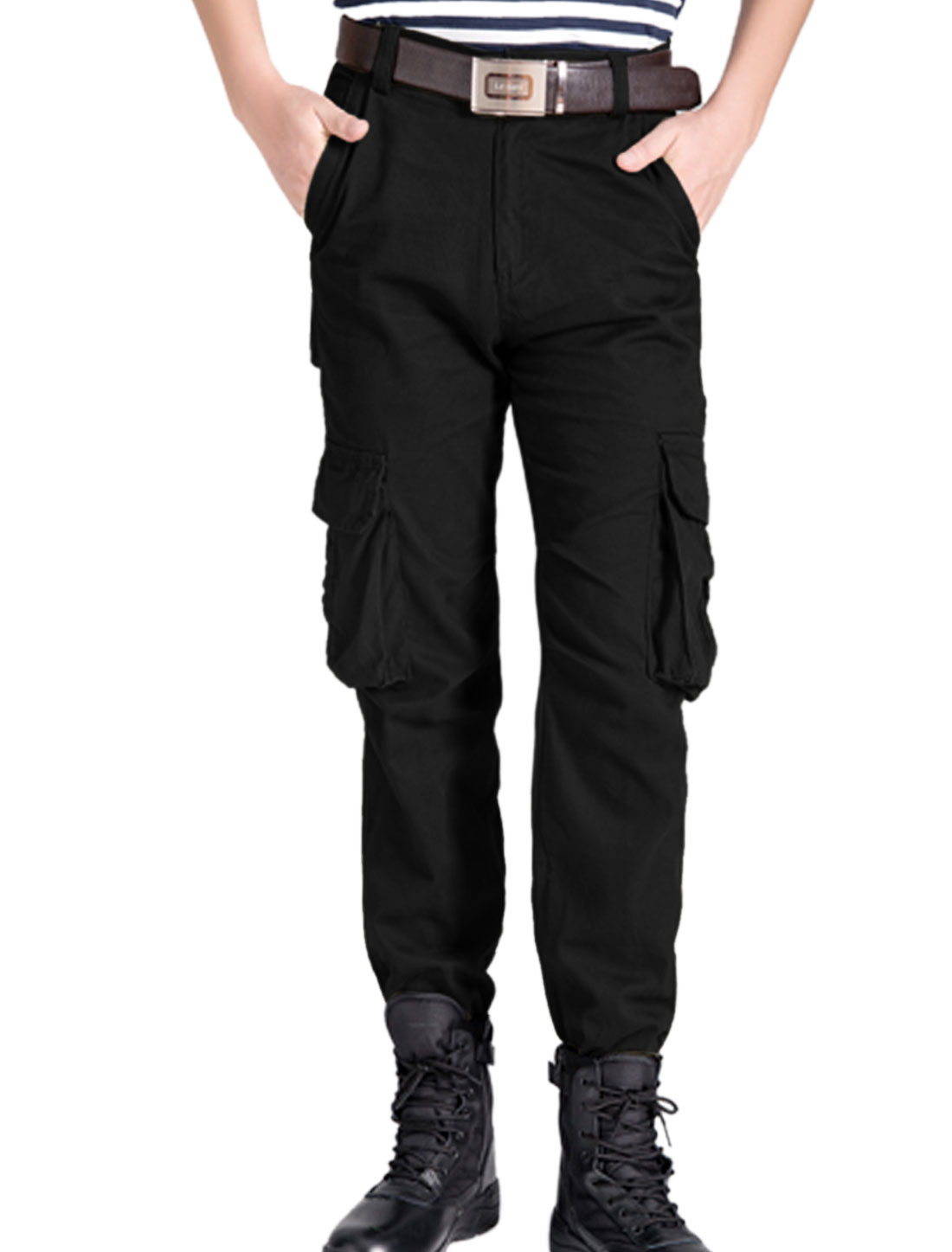 Men Belt Loop Button Closure Zip Fly Multi Pockets Cargo Pants Black W30