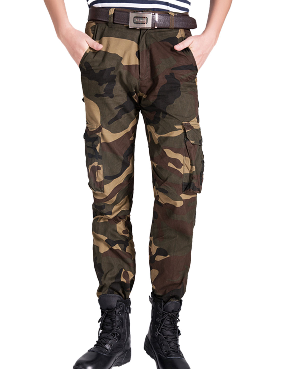 Men Camouflage Pattern Belt Loop Combat Work Cargo Pants Multicolor W30