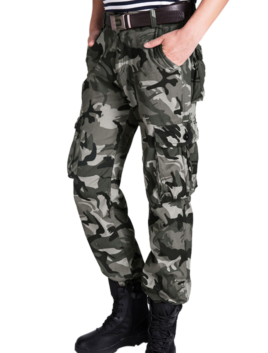 Men Camouflage Pattern Multi Pockets Belt Loop Cargo Pants Multicolor W30