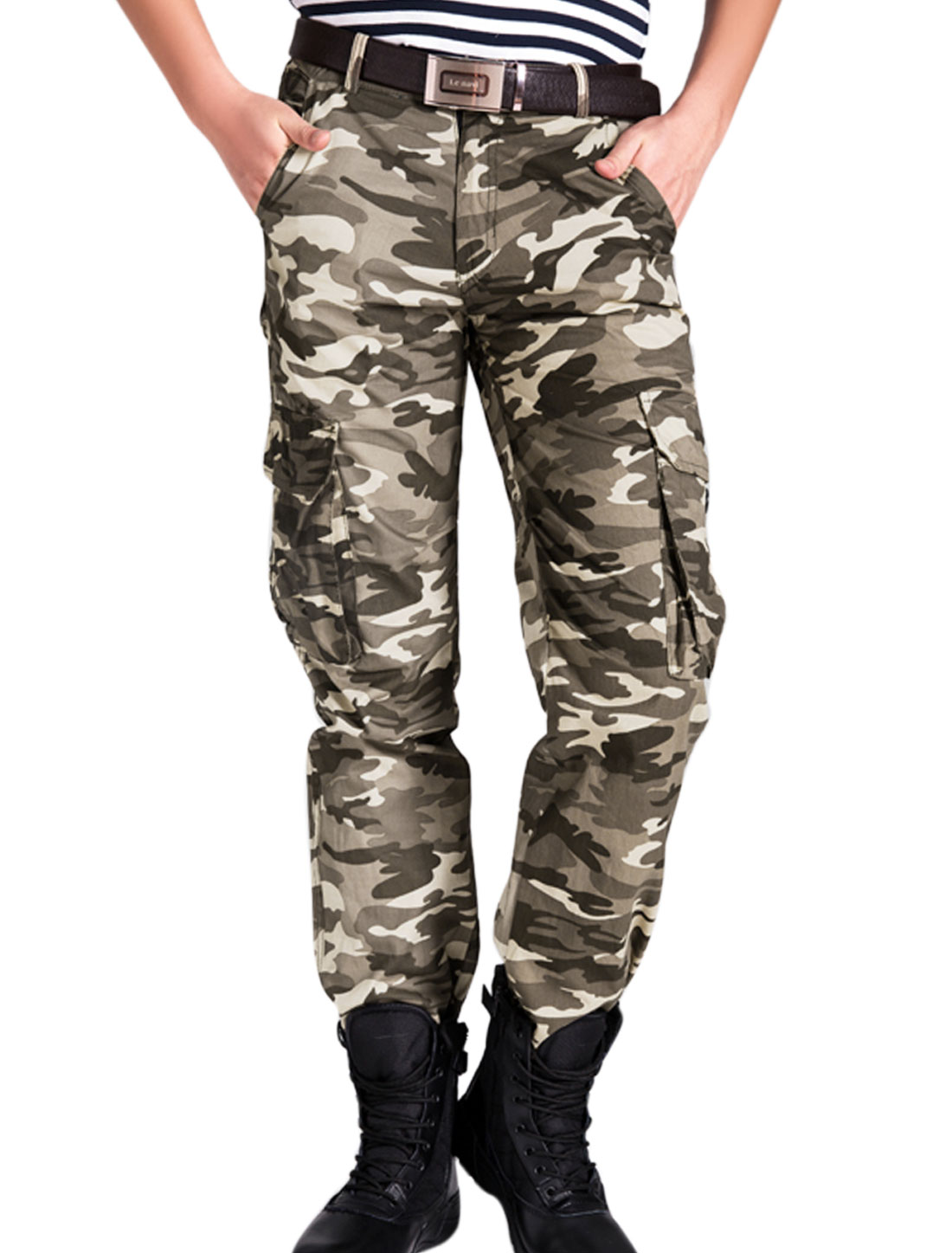 Men Camouflage Pattern Belt Loop Button Closure Cargo Pants Multicolor W30