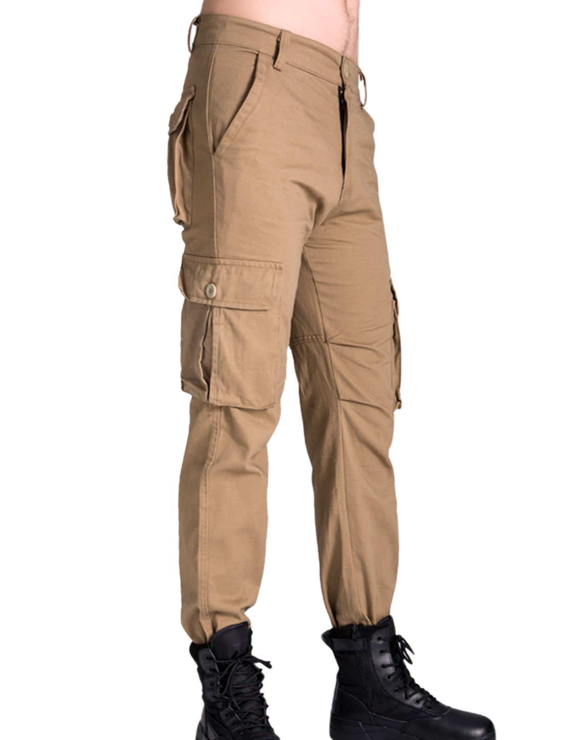 Men Belt Loop Multi Pockets Leisure Cargo Trousers Khaki W30