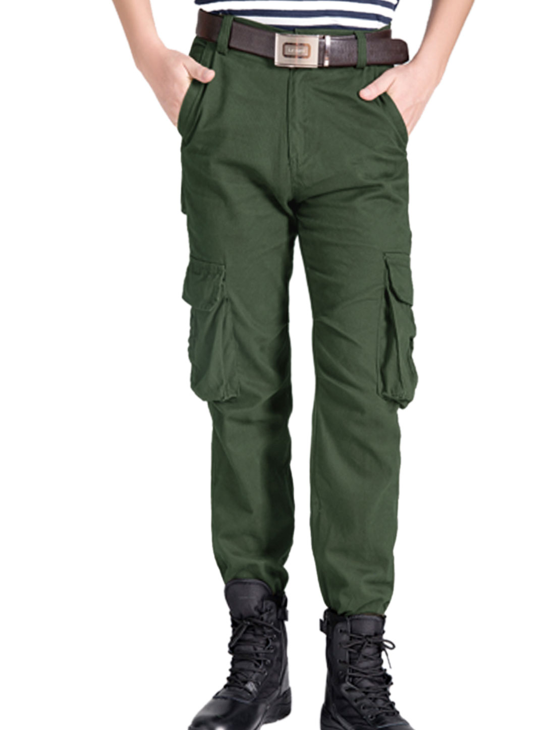 Men Button Closure Zip Fly Casual Cargo Pants Army Green W30