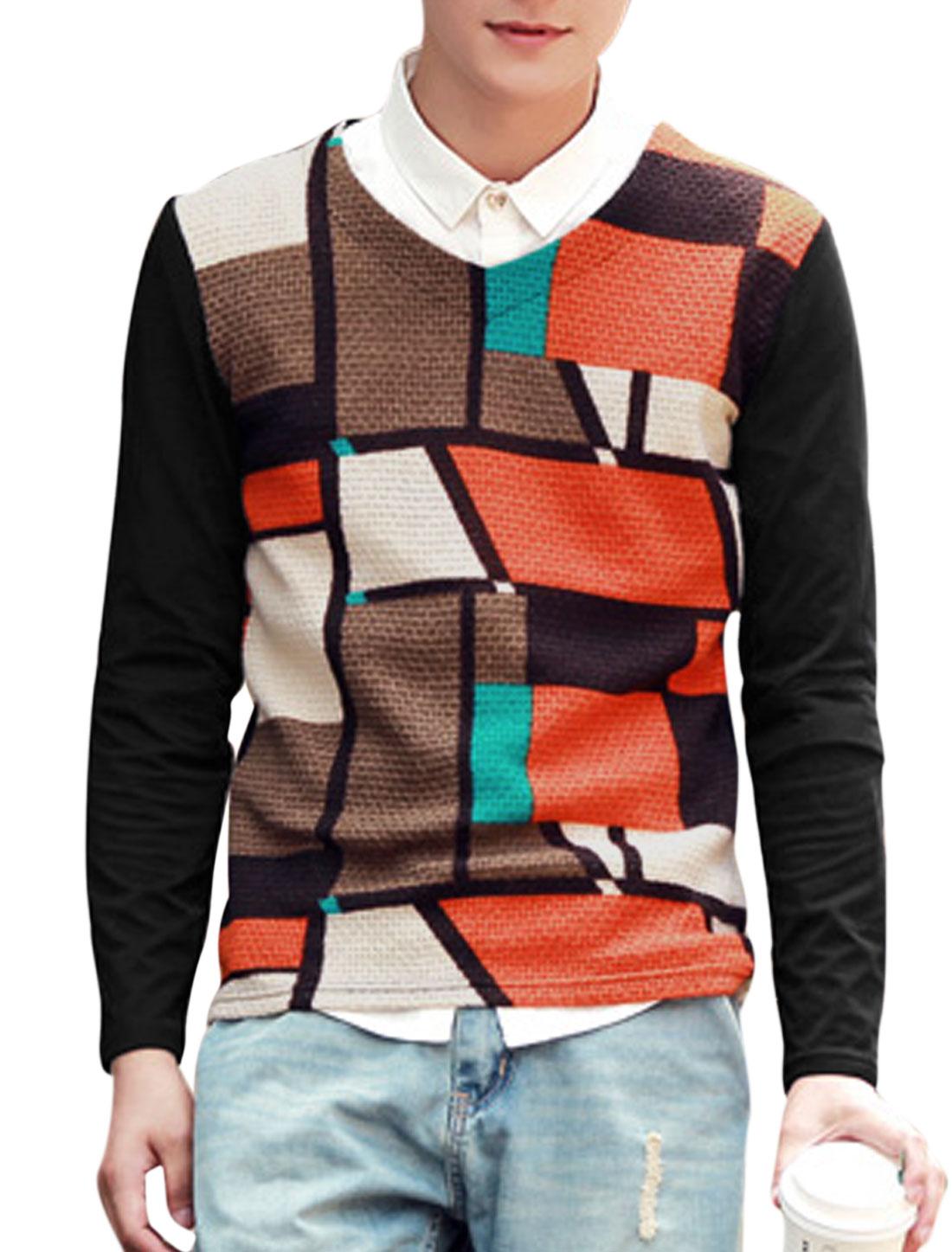 Men Pullover Color Block Irregular Print Pattern Leisure T-shirt Black M