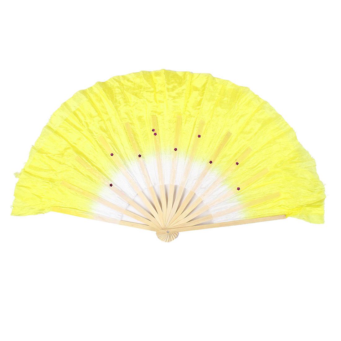 Bamboo Frame Glitter Flower Sequin Detail Folded Dancing Hand Fan Yellow White
