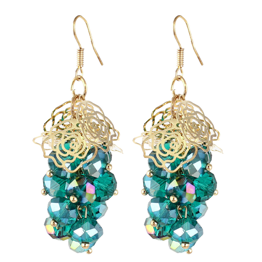 Woman Pair Plastic Beads Grape Shape Pandent Dangling Hook Earrings Green