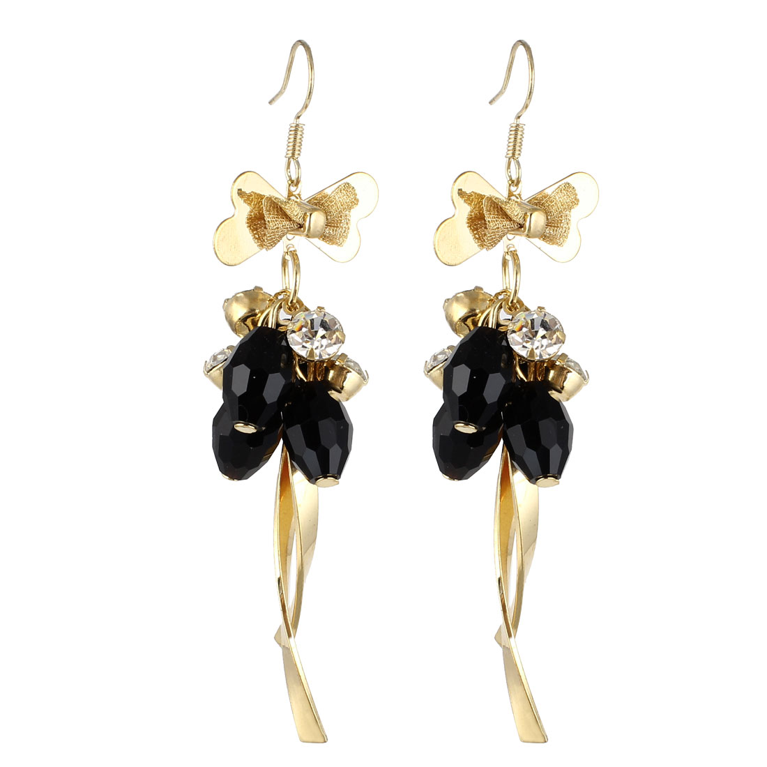 Lady Pair Plastic Beads Inlaid Decor Dangling Hook Earrings Black Gold Tone