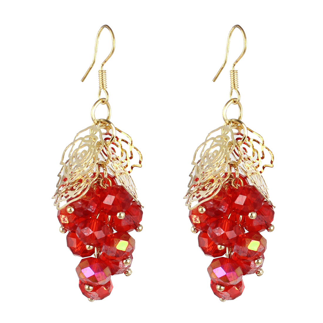 Woman Pair Plastic Beads Grape Shape Pandent Dangling Hook Earrings Red